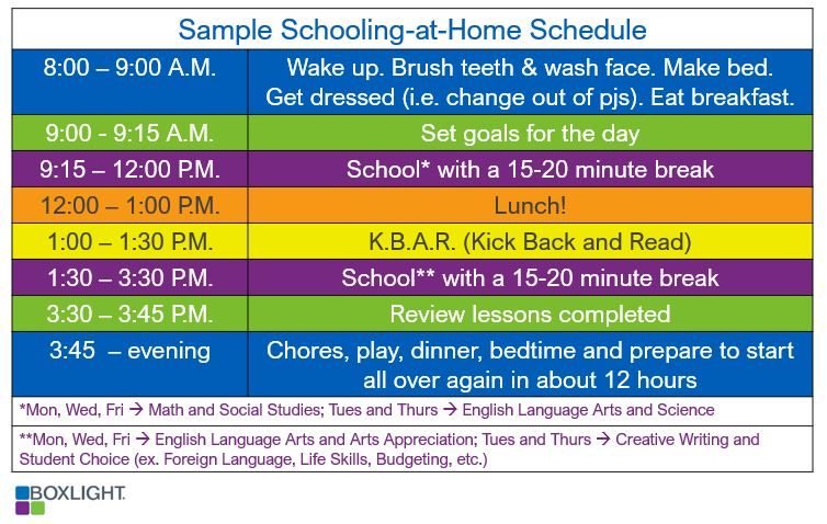 Sample Schooling-at-Home Schedule